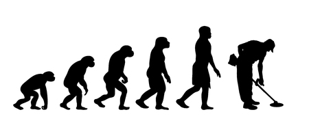 Painted theory of evolution of man. Vector silhouette of homo sapiens. Symbol from monkey to worker with brushcutter. Illustration