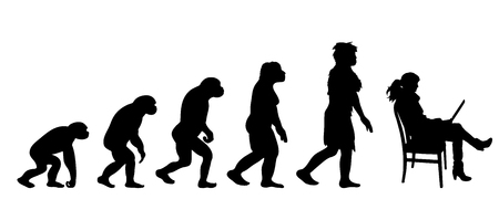 Painted theory of evolution of man. Vector silhouette of homo sapiens. Symbol from monkey to businesswoman.