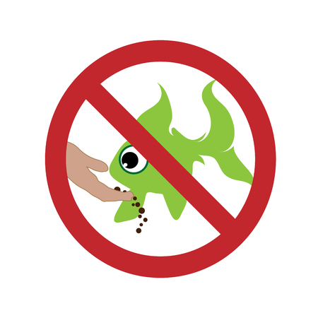 Vector silhouette of do not feed the fish ban mark on a white background. Symbol of animal,warning.