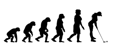 Painted theory of evolution of woman. Vector silhouette of homo sapiens. Symbol from monkey to golf player.