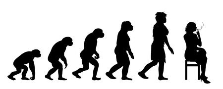 Painted theory of evolution of woman. Vector silhouette of homo sapiens. Symbol from monkey to smoker. 向量圖像
