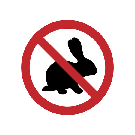 Vector illustration of rabbit ban mark on a white background. Symbol of animal, vegetarian, vegan, no meat. Stockfoto - 122030826