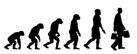 Teoria dipinta dell'evoluzione della donna. Siluetta di vettore dell'homo sapiens. Simbolo dalla scimmia allo shopping.