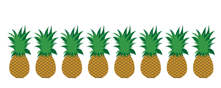 Painted vector illustration of pineapple on white background. Symbol of fruit, food,vegetarian,vegan.