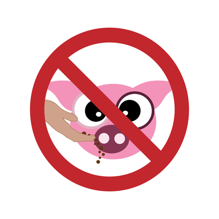 Vector silhouette of do not feed the pig ban mark on a white background. Symbol of animal,warning,farm.