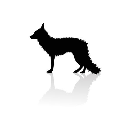 Vector silhouette of fox on white background.Symbol of animal and nature.