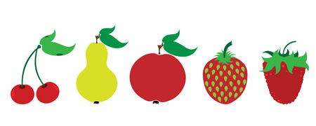 Painted vector illustration of fruits on white background. Symbol of cherry,pear,apple,strawberry, raspberry, food,vegetarian,vegan. Ilustração