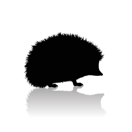 Vector silhouette of hedgehog on white background. Symbol of animal and nature. Illustration