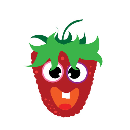 Painted vector illustration of happy raspberry with eyes and mouth on white background. Symbol of fruit, food,vegetarian,vegan.
