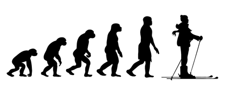 Painted theory of evolution of man. Vector silhouette of homo sapiens. Symbol from monkey to skier. 向量圖像