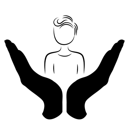 Vector silhouette of a hand in a defensive gesture protecting a man. Symbol of insurance, people, protection, Stock Illustratie