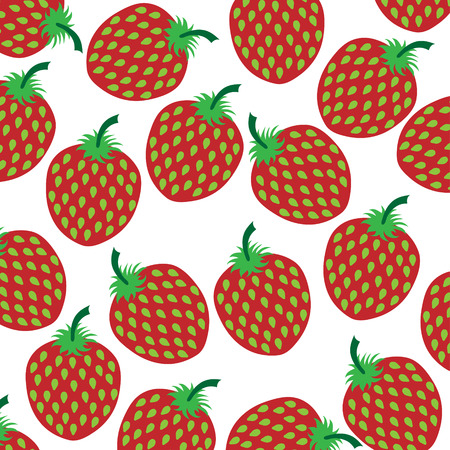 Vector illustration of painted strawberries on white background. Symbol of fruit, food,vegetarian,vegan. 矢量图像