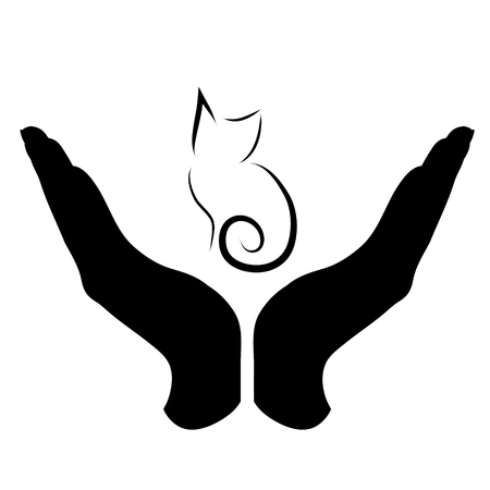 Vector silhouette of a hand in a defensive gesture protecting a cat. Symbol of animal, pet, nature, humanity, care, protection, veterinary.