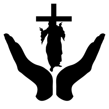 Vector silhouette of a hand in a defensive gesture protecting a God with cross. Symbol of religion,christianity, protection,faith, Illustration