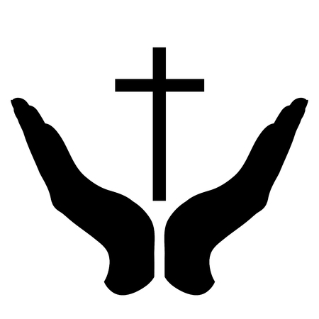 Vector silhouette of a hand in a defensive gesture protecting a cross. Symbol of religion,christianity, protection,faith,