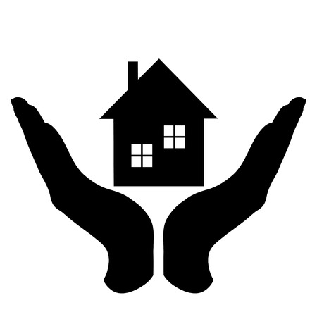 Vector silhouette of a hand in a defensive gesture protecting a house. Symbol of insurance, home,real estate, protection,