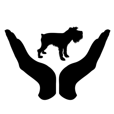 Vector silhouette of a hand in a defensive gesture protecting a dog. Symbol of animal, pet, nature, humanity, care, protection, veterinary.