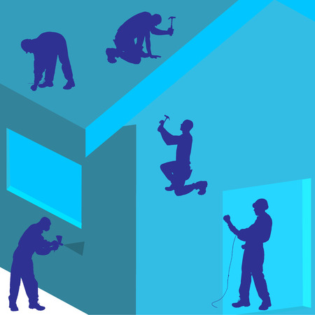 Vector silhouette of construction worker on the house. Symbol of home service. Ilustracja