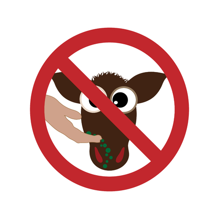 Vector silhouette of do not feed the cow ban mark on a white background. Symbol of animal,warning,farm. Illustration