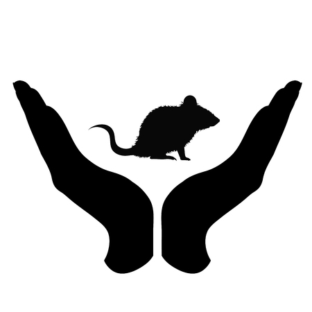 Vector silhouette of a hand in a defensive gesture protecting a mouse. Symbol of animal, wild,rat, rodent,nature, humanity, care, protection.
