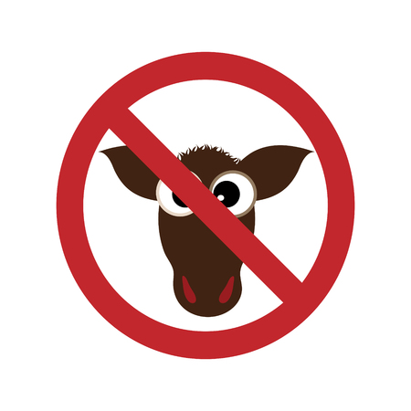 Vector illustration of cow ban mark on a white background. Symbol of animal, vegetarian, vegan, no meat, no beef.
