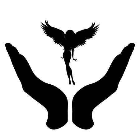 Silhouette vecteur d'une main dans un geste défensif protégeant un ange. Symbole d'assurance, de protection, Vecteurs