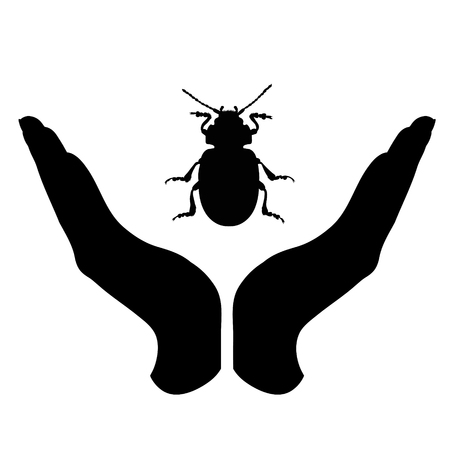 Vector silhouette of a hand in a defensive gesture protecting a beatle. Symbol of animal, insect, nature, humanity, care, protection.