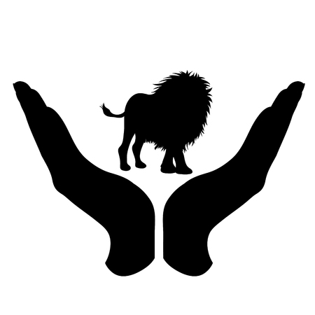 Vector silhouette of a hand in a defensive gesture protecting a lion. Symbol of animal, wild,africa, nature, humanity, care, protection, veterinary.