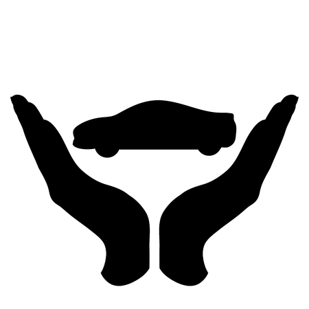 Vector silhouette of a hand in a defensive gesture protecting a car. Symbol of insurance, transportation, protection, 矢量图像
