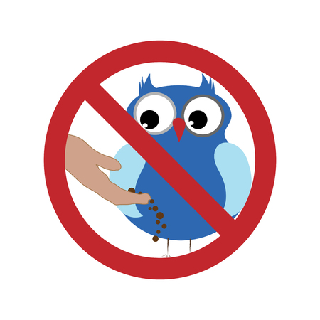 Vector silhouette of do not feed the bird ban mark on a white background. Symbol of animal,warning,poultry.