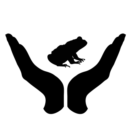 Vector silhouette of a hand in a defensive gesture protecting a frog. Symbol of animal, wild,forest, nature, humanity, care, protection. Stock Illustratie