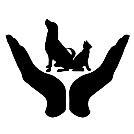 Vector silhouette of a hand in a defensive gesture protecting a cat and dog. Symbol of animal, pet, nature, humanity, care, protection, veterinary.