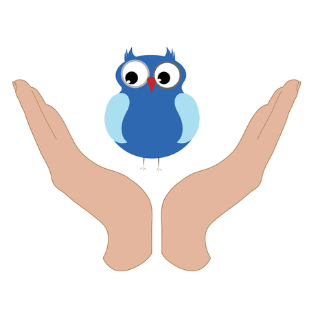 Vector illustration of a hand in a defensive gesture protecting a owl. Symbol of animal, bird, nature, humanity, care, protection.