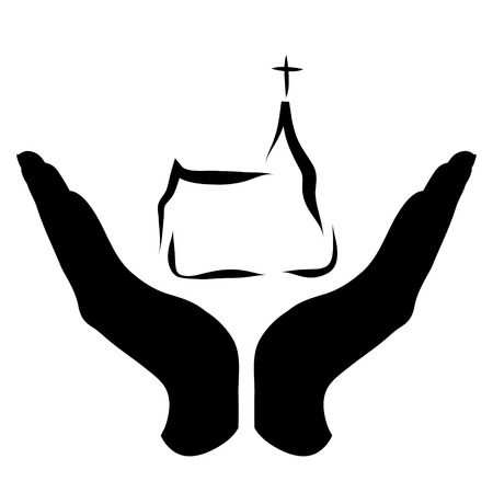 Vector silhouette of a hand in a defensive gesture protecting a church. Symbol of religion,christianity, protection,faith,