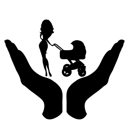 Vector silhouette of a hand in a defensive gesture protecting a family. Symbol of insurance, mother, baby, protection, Ilustração