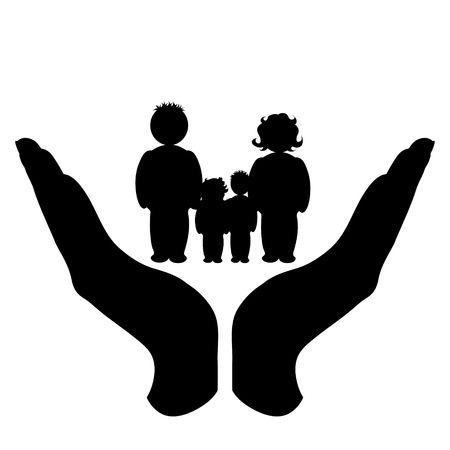 Vector silhouette of a hand in a defensive gesture protecting a family. Symbol of insurance, mother, father, son, daughter, protection,