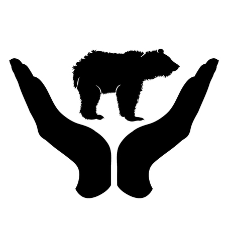 Vector silhouette of a hand in a defensive gesture protecting a bear. Symbol of animal, wild,grizzly,nature, humanity, care, protection. Stock Illustratie