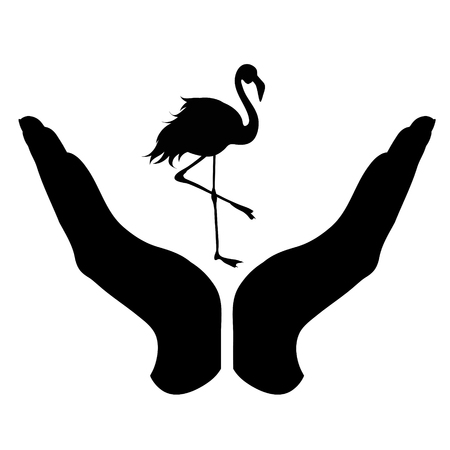 Vector silhouette of a hand in a defensive gesture protecting a flamigo. Symbol of animal, wild,bird, nature, humanity, care, protection.