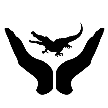 Vector silhouette of a hand in a defensive gesture protecting a crocodile. Symbol of animal, wild, nature, humanity, care, protection. Ilustração