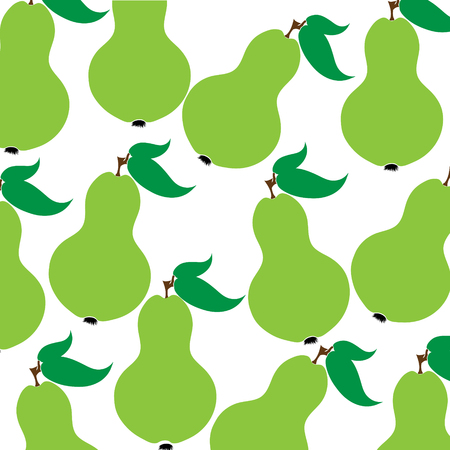 Vector illustration of painted pears on white background. Symbol of fruit, food,vegetarian,vegan. Иллюстрация