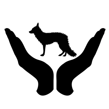 Vector silhouette of a hand in a defensive gesture protecting a fox. Symbol of animal, wild,forest, nature, humanity, care, protection. 일러스트
