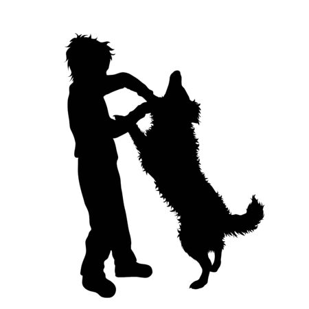 Vector silhouette of boy who beat dog. Animal abuse symbol. Stock Illustratie