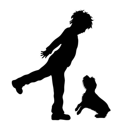 Vector silhouette of boy who kick dog. Animal abuse symbol. Stock Illustratie