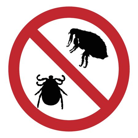 Vector illustration of flea and tick ban mark on a white background. Symbol of protection against parasites.