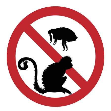 Vector illustration of flea ban mark with monkey on a white background. Symbol of protection against parasites.