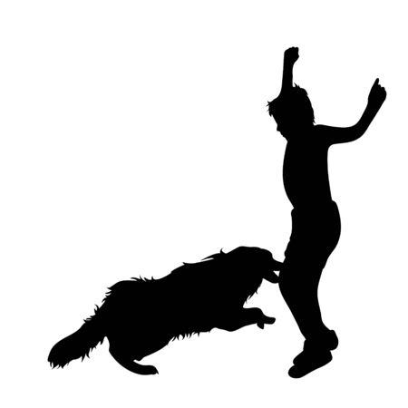 Silueta de vector de niño que huye de un perro agresivo. Símbolo del animal de la ira sobre fondo blanco.