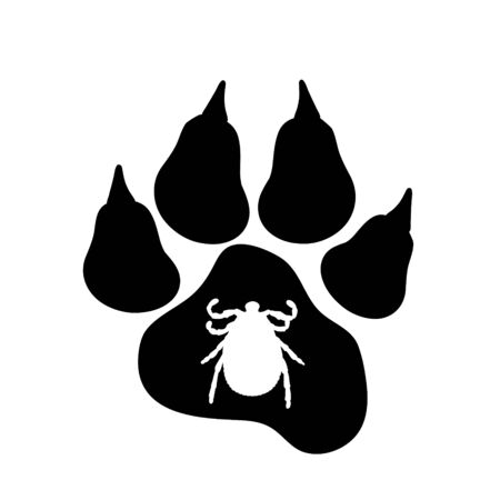 Vector silhouette of tick and dog pawn on a white background. Symbol of parasites.