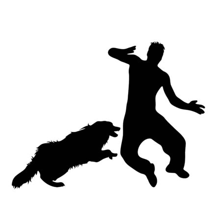 Vector silhouette of man who running away from an aggressive dog. Symbol of anger animal on white background.