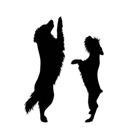 Silueta de vector de pareja de perros. Símbolo de amigos animales sobre fondo blanco.