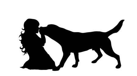 Vector silhouette of child who play with dog on white background. Symbol of friends and funny activities.